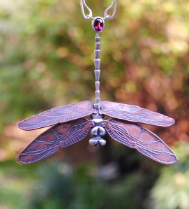 Dragon Fly, Sterling and Fine Silver, Copper, Rubellite Tourmaline