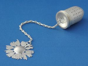 Chamomile Tea Infuser, Sterling and Fine Silver, 2010