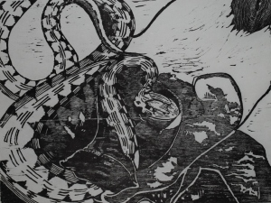 DeKay's Brown Snake, Ink on Mulberry Paper, 2012